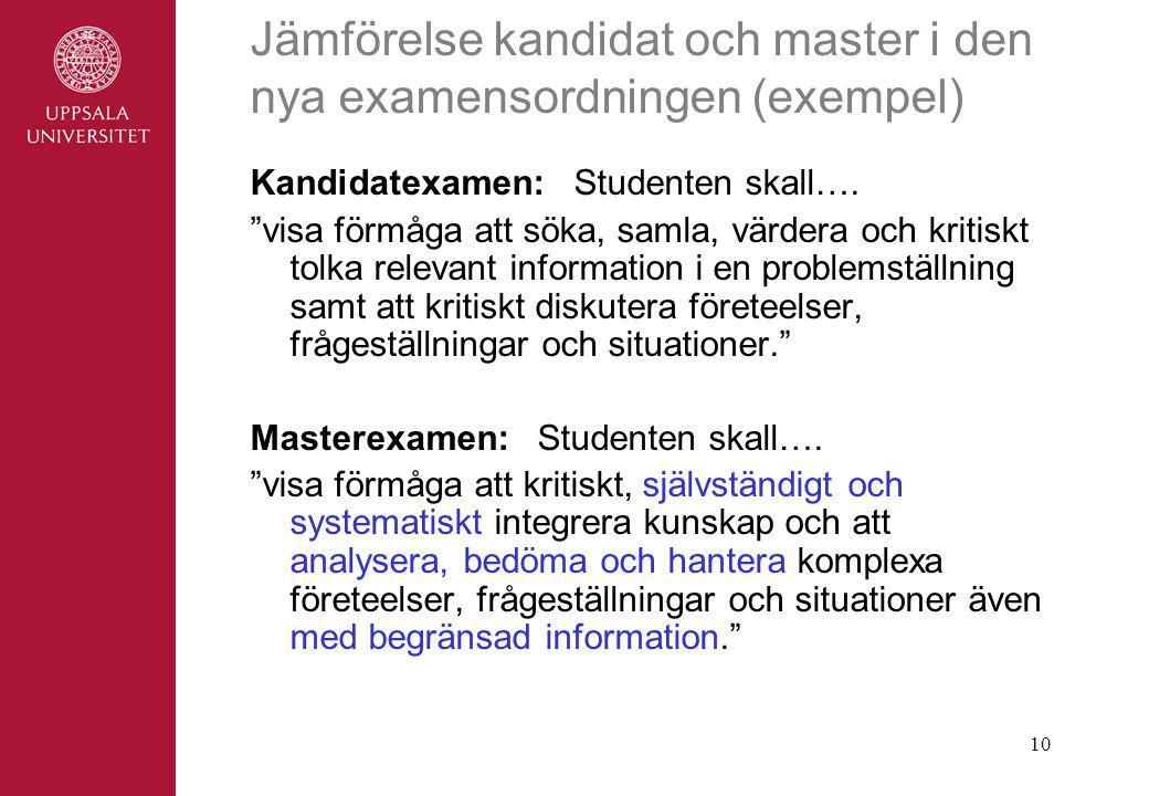 10 Jämförelse kandidat och master i den nya examensordningen (exempel) Kandidatexamen: Studenten skall….