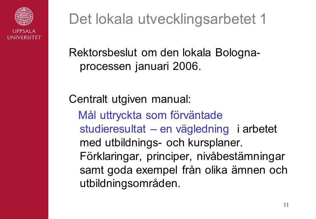11 Det lokala utvecklingsarbetet 1 Rektorsbeslut om den lokala Bologna- processen januari 2006.