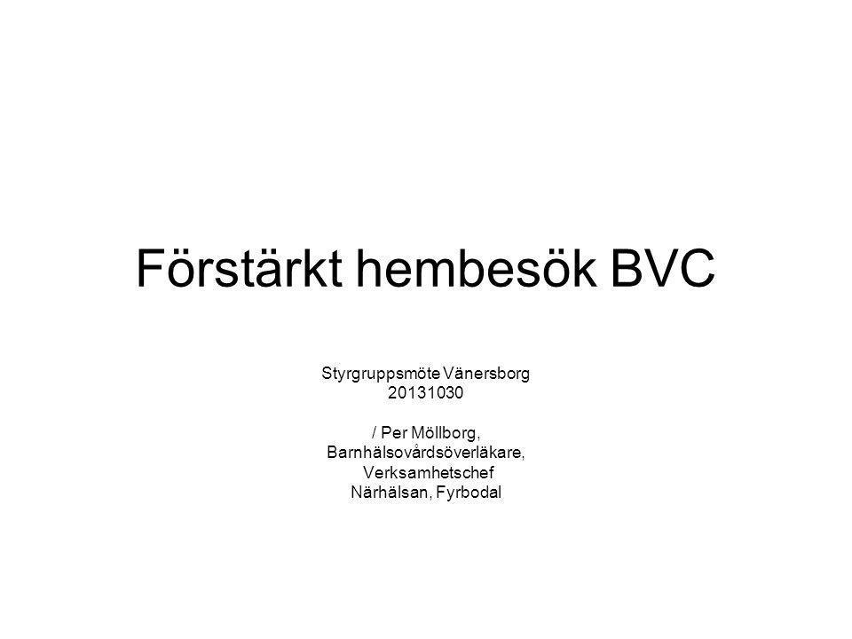 Förstärkt hembesök BVC Styrgruppsmöte Vänersborg 20131030 / Per Möllborg, Barnhälsovårdsöverläkare, Verksamhetschef Närhälsan, Fyrbodal