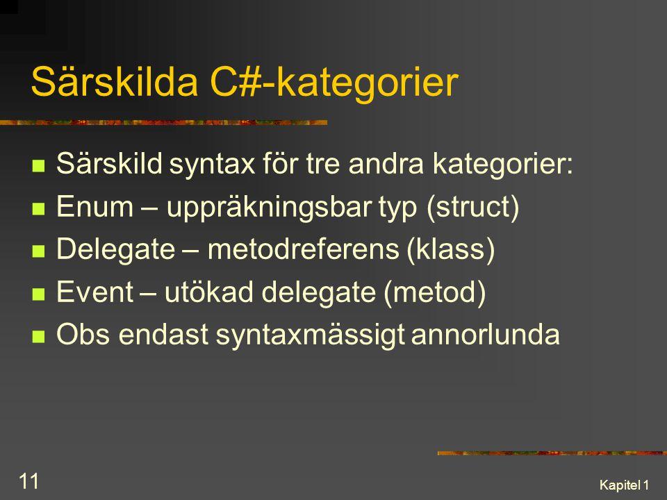 Kapitel 1 11 Särskilda C#-kategorier Särskild syntax för tre andra kategorier: Enum – uppräkningsbar typ (struct) Delegate – metodreferens (klass) Eve