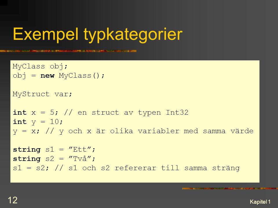 Kapitel 1 12 Exempel typkategorier MyClass obj; obj = new MyClass(); MyStruct var; int x = 5; // en struct av typen Int32 int y = 10; y = x; // y och