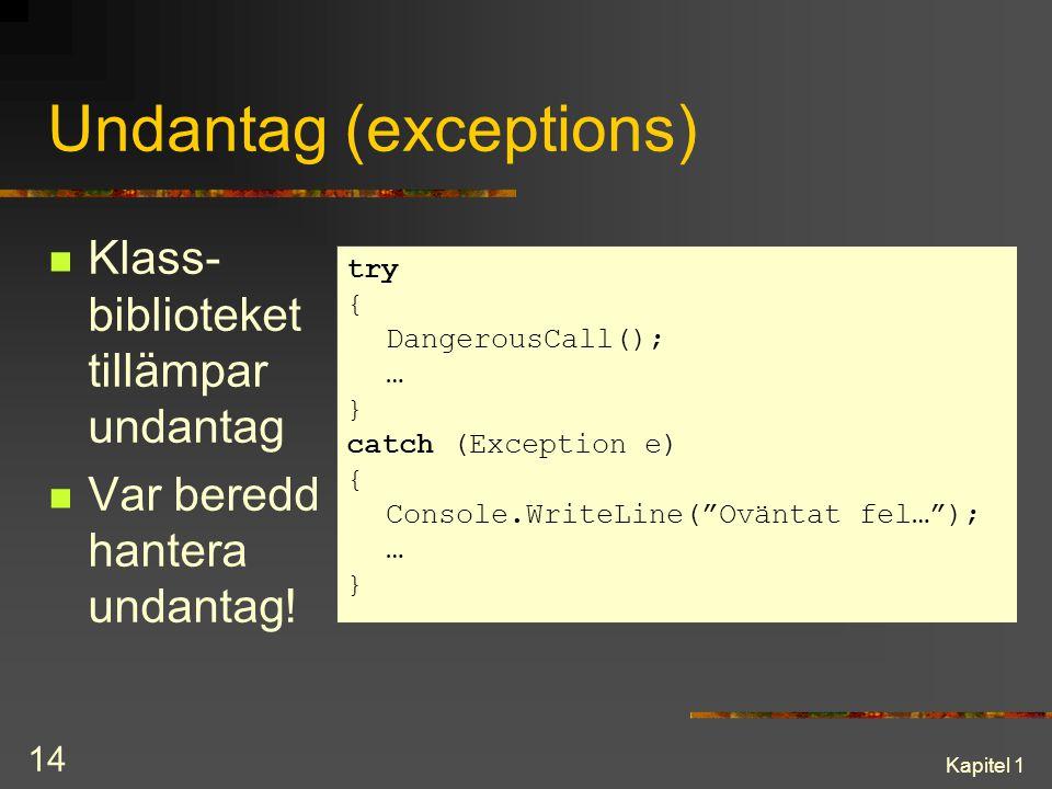 Kapitel 1 14 Undantag (exceptions) Klass- biblioteket tillämpar undantag Var beredd hantera undantag! try { DangerousCall(); … } catch (Exception e) {