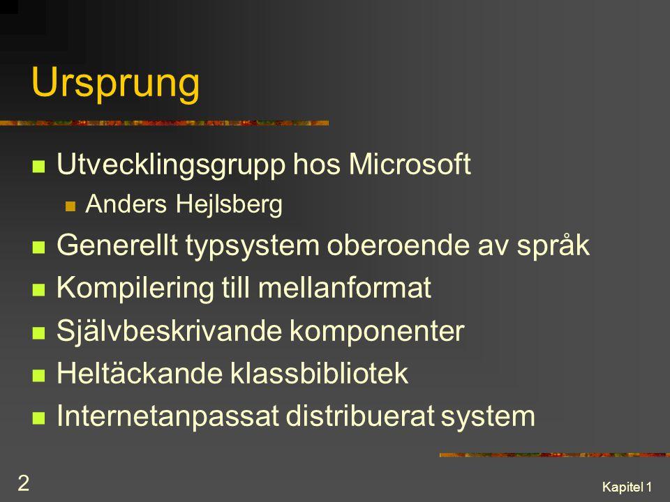 Kapitel 1 2 Ursprung Utvecklingsgrupp hos Microsoft Anders Hejlsberg Generellt typsystem oberoende av språk Kompilering till mellanformat Självbeskriv