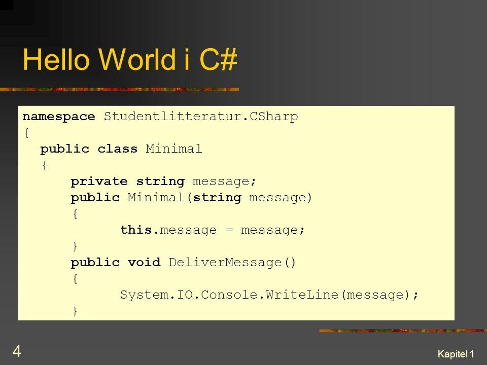 Kapitel 1 4 Hello World i C# namespace Studentlitteratur.CSharp { public class Minimal { private string message; public Minimal(string message) { this