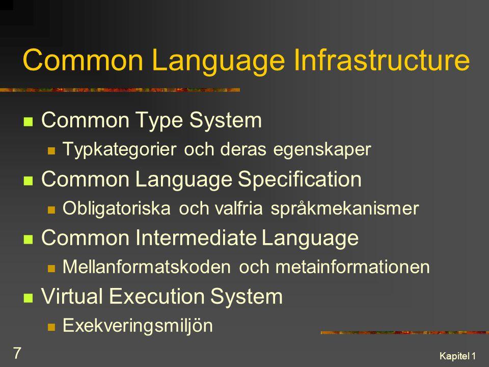 Kapitel 1 7 Common Language Infrastructure Common Type System Typkategorier och deras egenskaper Common Language Specification Obligatoriska och valfr