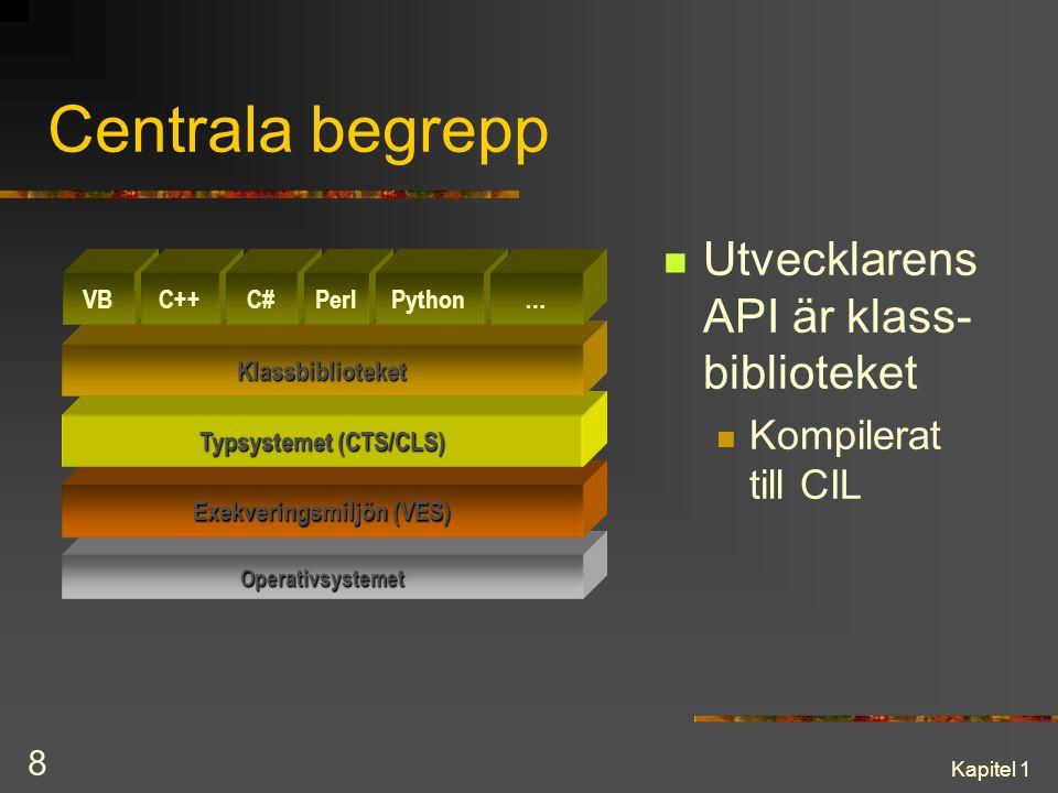 Kapitel 1 8 Centrala begrepp Utvecklarens API är klass- biblioteket Kompilerat till CIL Operativsystemet Exekveringsmiljön (VES) Typsystemet (CTS/CLS)