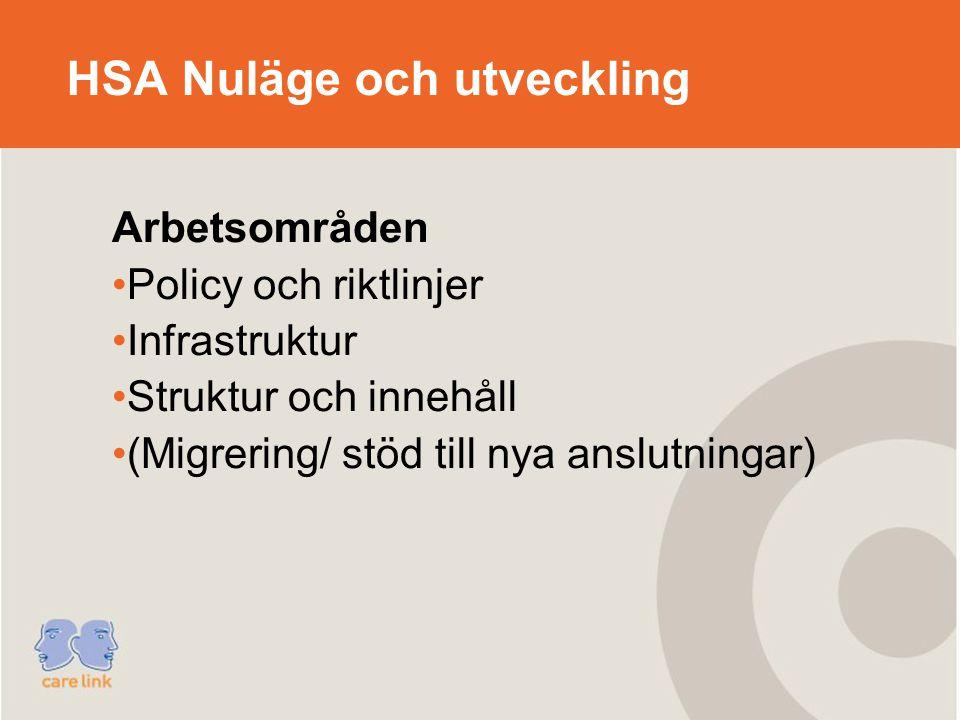 HSA Nuläge och utveckling Arbetsområden Policy och riktlinjer Infrastruktur Struktur och innehåll (Migrering/ stöd till nya anslutningar)