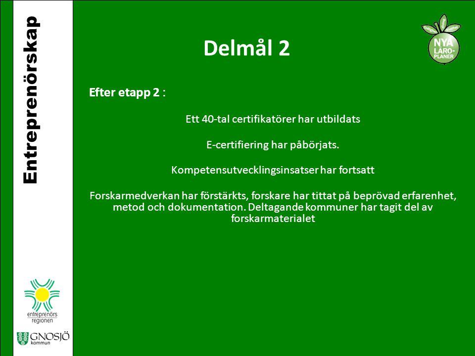 Entreprenörskap Delmål 2 Efter etapp 2 : Ett 40-tal certifikatörer har utbildats E-certifiering har påbörjats. Kompetensutvecklingsinsatser har fortsa