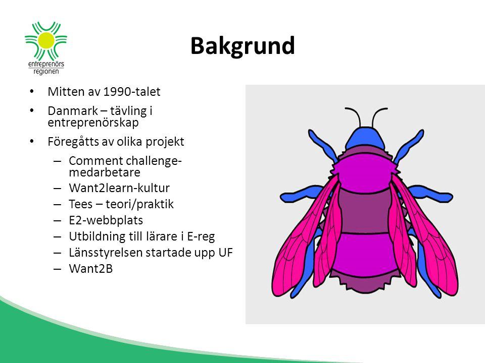 Bakgrund Mitten av 1990-talet Danmark – tävling i entreprenörskap Föregåtts av olika projekt – Comment challenge- medarbetare – Want2learn-kultur – Te