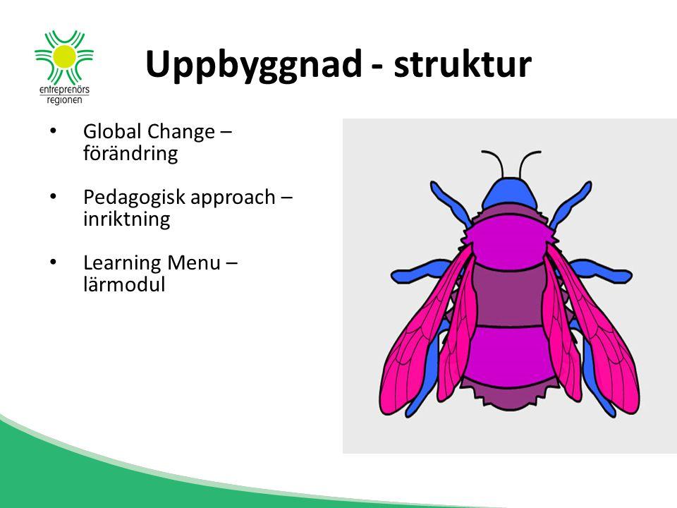 Uppbyggnad - struktur Global Change – förändring Pedagogisk approach – inriktning Learning Menu – lärmodul