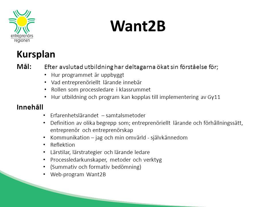 Want2B Kursplan Mål: Efter avslutad utbildning har deltagarna ökat sin förståelse för; Hur programmet är uppbyggt Vad entreprenöriellt lärande innebär