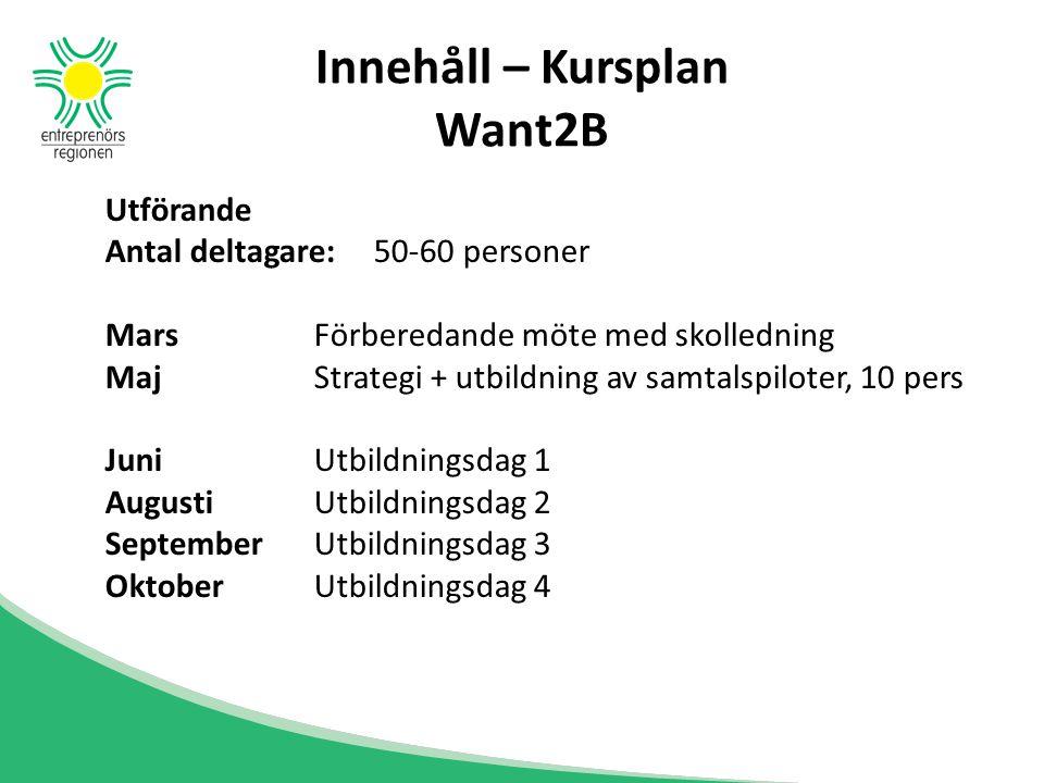 Innehåll – Kursplan Want2B Utförande Antal deltagare: 50-60 personer Mars Förberedande möte med skolledning MajStrategi + utbildning av samtalspiloter