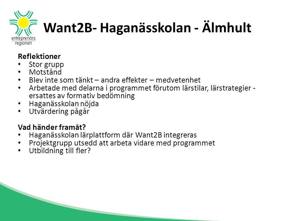 Want2B- Haganässkolan - Älmhult Reflektioner Stor grupp Motstånd Blev inte som tänkt – andra effekter – medvetenhet Arbetade med delarna i programmet