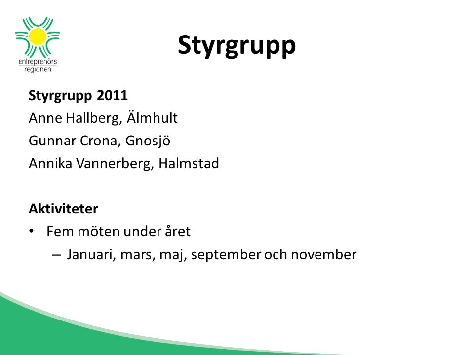 Styrgrupp 2011 Anne Hallberg, Älmhult Gunnar Crona, Gnosjö Annika Vannerberg, Halmstad Aktiviteter Fem möten under året – Januari, mars, maj, septembe