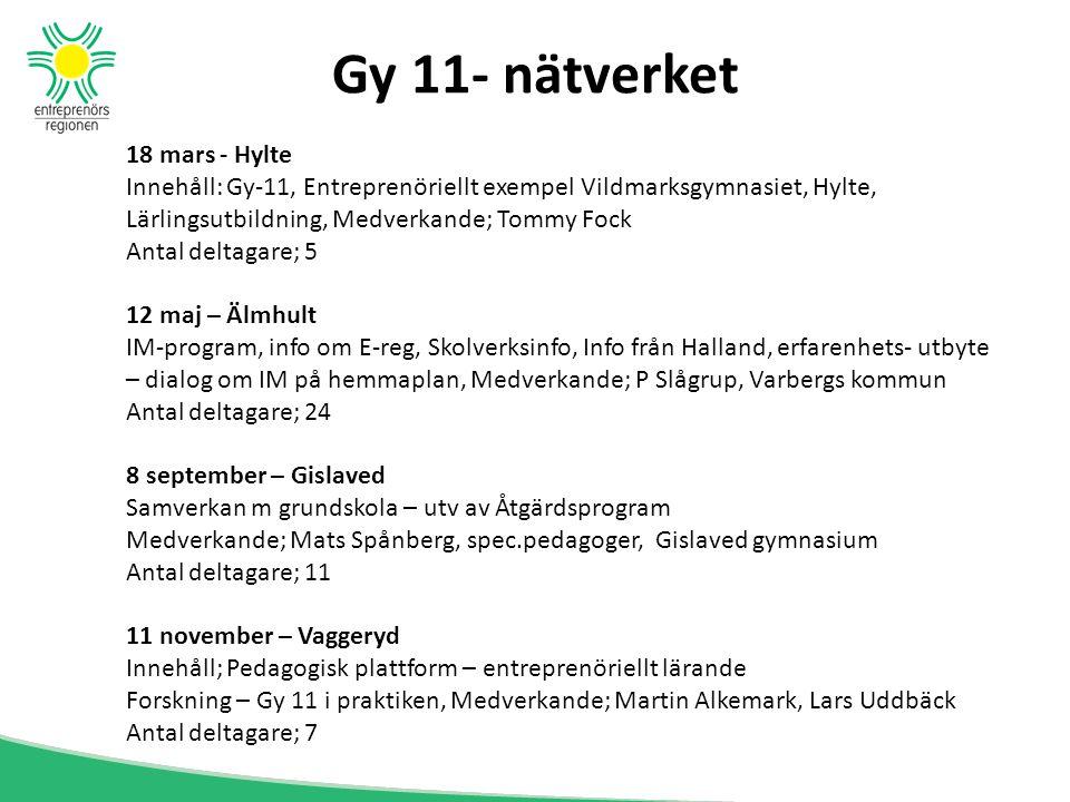 Gy 11- nätverket 18 mars - Hylte Innehåll: Gy-11, Entreprenöriellt exempel Vildmarksgymnasiet, Hylte, Lärlingsutbildning, Medverkande; Tommy Fock Anta