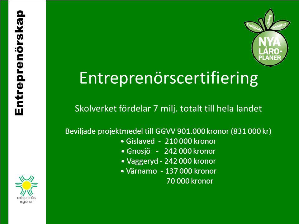 Entreprenörskap Entreprenörscertifiering Skolverket fördelar 7 milj. totalt till hela landet Beviljade projektmedel till GGVV 901.000 kronor (831 000