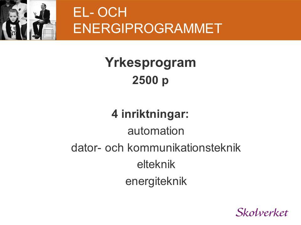 EL- OCH ENERGIPROGRAMMET Yrkesprogram 2500 p 4 inriktningar: automation dator- och kommunikationsteknik elteknik energiteknik