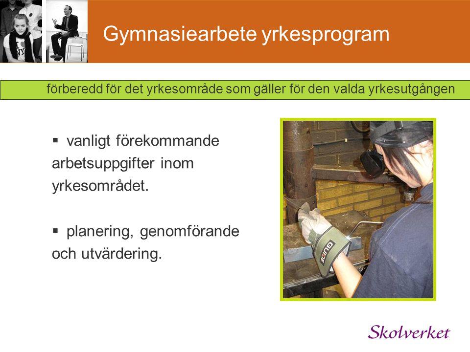 Gymnasiearbete yrkesprogram  vanligt förekommande arbetsuppgifter inom yrkesområdet.  planering, genomförande och utvärdering. förberedd för det yrk