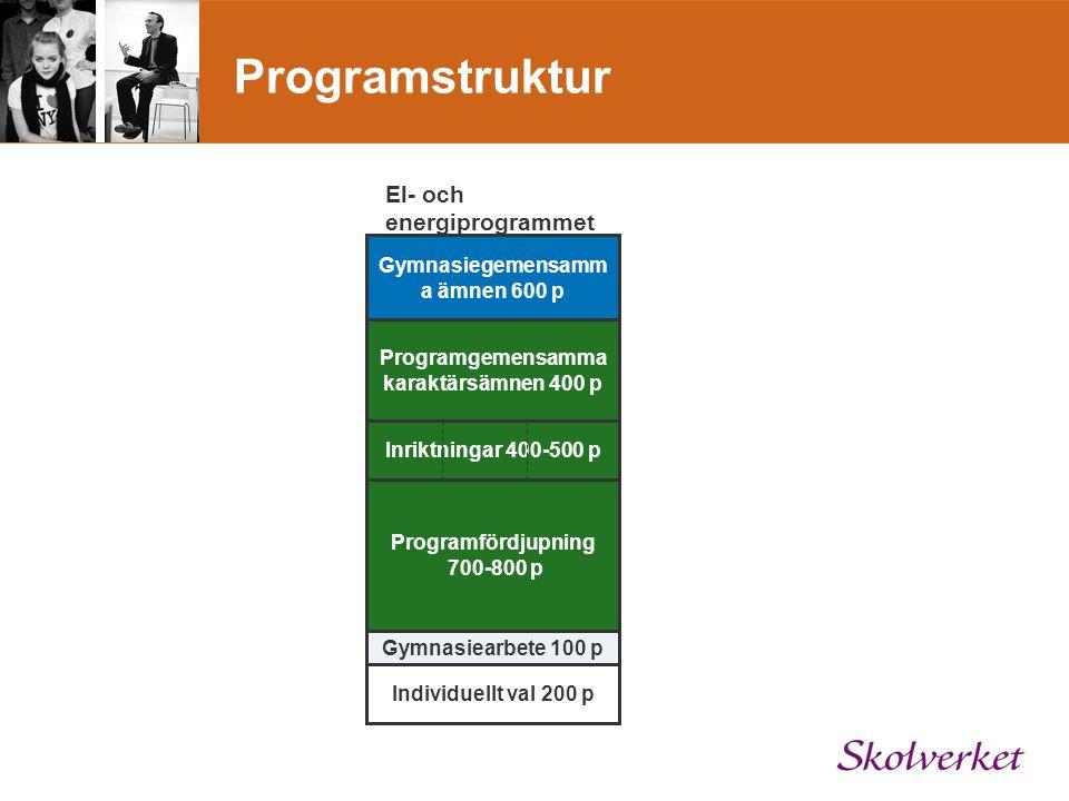Programstruktur El- och energiprogrammet Gymnasiegemensamm a ämnen 600 p Programgemensamma karaktärsämnen 400 p Gymnasiearbete 100 p Individuellt val