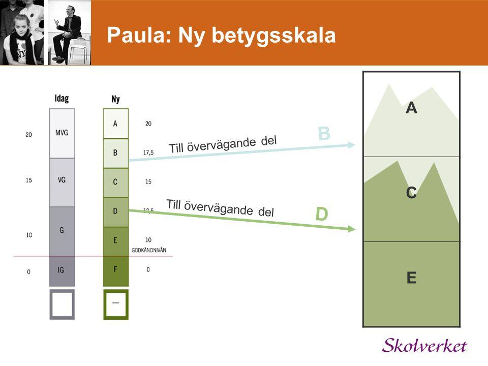 Paula: Ny betygsskala A C E Till övervägande del D Till övervägande del B