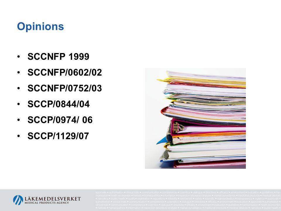 Opinions SCCNFP 1999 SCCNFP/0602/02 SCCNFP/0752/03 SCCP/0844/04 SCCP/0974/ 06 SCCP/1129/07