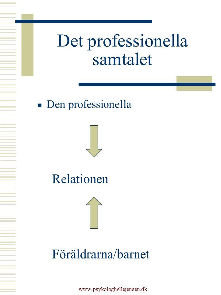 Det professionella samtalet Den professionella Relationen Föräldrarna/barnet www.psykologhellejensen.dk