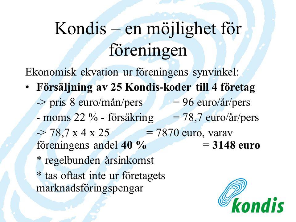 Kondis – en möjlighet för föreningen Ekonomisk ekvation ur föreningens synvinkel: Försäljning av 25 Kondis-koder till 4 företag -> pris 8 euro/mån/pers = 96 euro/år/pers - moms 22 % - försäkring= 78,7 euro/år/pers -> 78,7 x 4 x 25 = 7870 euro, varav föreningens andel 40 %= 3148 euro * regelbunden årsinkomst * tas oftast inte ur företagets marknadsföringspengar