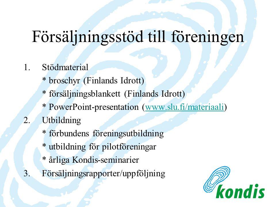 Försäljningsstöd till föreningen 1.Stödmaterial * broschyr (Finlands Idrott) * försäljningsblankett (Finlands Idrott) * PowerPoint-presentation (www.s