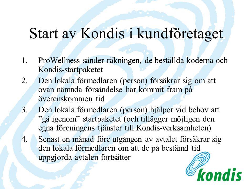 Start av Kondis i kundföretaget 1.ProWellness sänder räkningen, de beställda koderna och Kondis-startpaketet 2.Den lokala förmedlaren (person) försäkrar sig om att ovan nämnda försändelse har kommit fram på överenskommen tid 3.Den lokala förmedlaren (person) hjälper vid behov att gå igenom startpaketet (och tillägger möjligen den egna föreningens tjänster till Kondis-verksamheten) 4.Senast en månad före utgången av avtalet försäkrar sig den lokala förmedlaren om att de på bestämd tid uppgjorda avtalen fortsätter