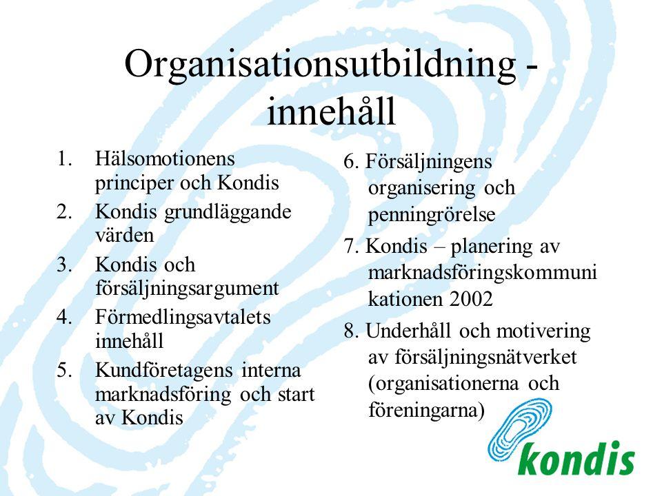 Organisationsutbildning - innehåll 1.Hälsomotionens principer och Kondis 2.Kondis grundläggande värden 3.Kondis och försäljningsargument 4.Förmedlings