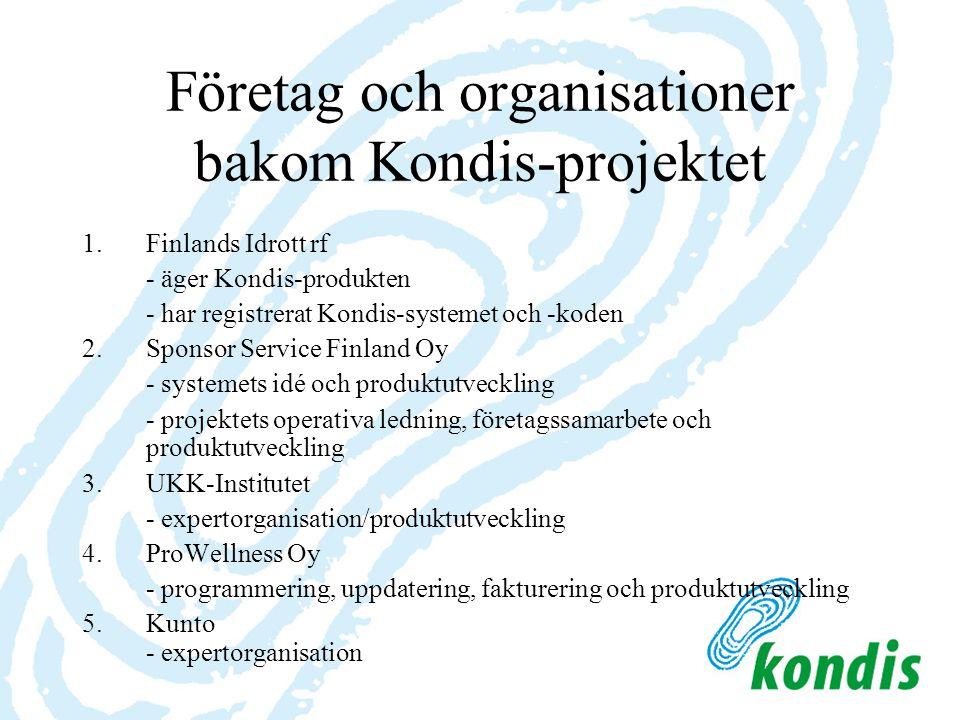 Företag och organisationer bakom Kondis-projektet 1.Finlands Idrott rf - äger Kondis-produkten - har registrerat Kondis-systemet och -koden 2.Sponsor