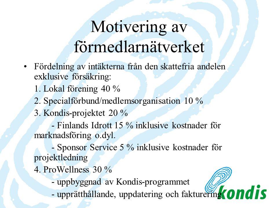 Motivering av förmedlarnätverket Fördelning av intäkterna från den skattefria andelen exklusive försäkring: 1. Lokal förening 40 % 2. Specialförbund/m