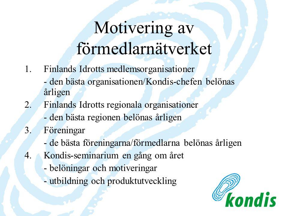 Motivering av förmedlarnätverket 1.Finlands Idrotts medlemsorganisationer - den bästa organisationen/Kondis-chefen belönas årligen 2. Finlands Idrotts