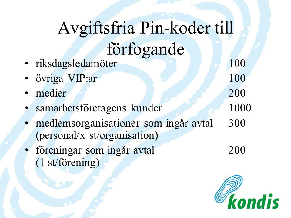 Avgiftsfria Pin-koder till förfogande riksdagsledamöter100 övriga VIP:ar 100 medier200 samarbetsföretagens kunder 1000 medlemsorganisationer som ingår avtal300 (personal/x st/organisation) föreningar som ingår avtal 200 (1 st/förening)