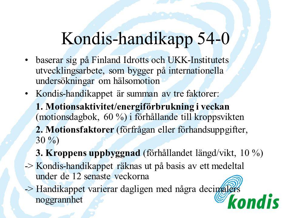 Kondis-handikapp 54-0 baserar sig på Finland Idrotts och UKK-Institutets utvecklingsarbete, som bygger på internationella undersökningar om hälsomotion Kondis-handikappet är summan av tre faktorer: 1.