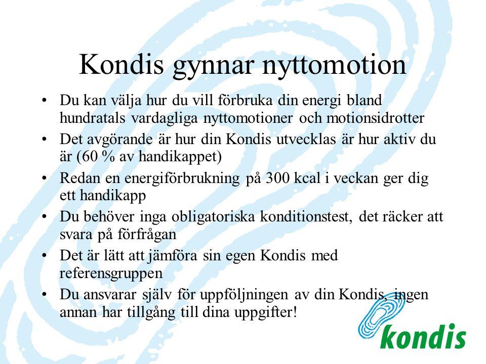 Företag och organisationer bakom Kondis-projektet 1.Finlands Idrott rf - äger Kondis-produkten - har registrerat Kondis-systemet och -koden 2.Sponsor Service Finland Oy - systemets idé och produktutveckling - projektets operativa ledning, företagssamarbete och produktutveckling 3.UKK-Institutet - expertorganisation/produktutveckling 4.ProWellness Oy - programmering, uppdatering, fakturering och produktutveckling 5.