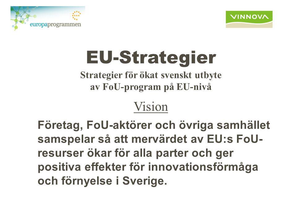 EU-Strategier Företag, FoU-aktörer och övriga samhället samspelar så att mervärdet av EU:s FoU- resurser ökar för alla parter och ger positiva effekter för innovationsförmåga och förnyelse i Sverige.