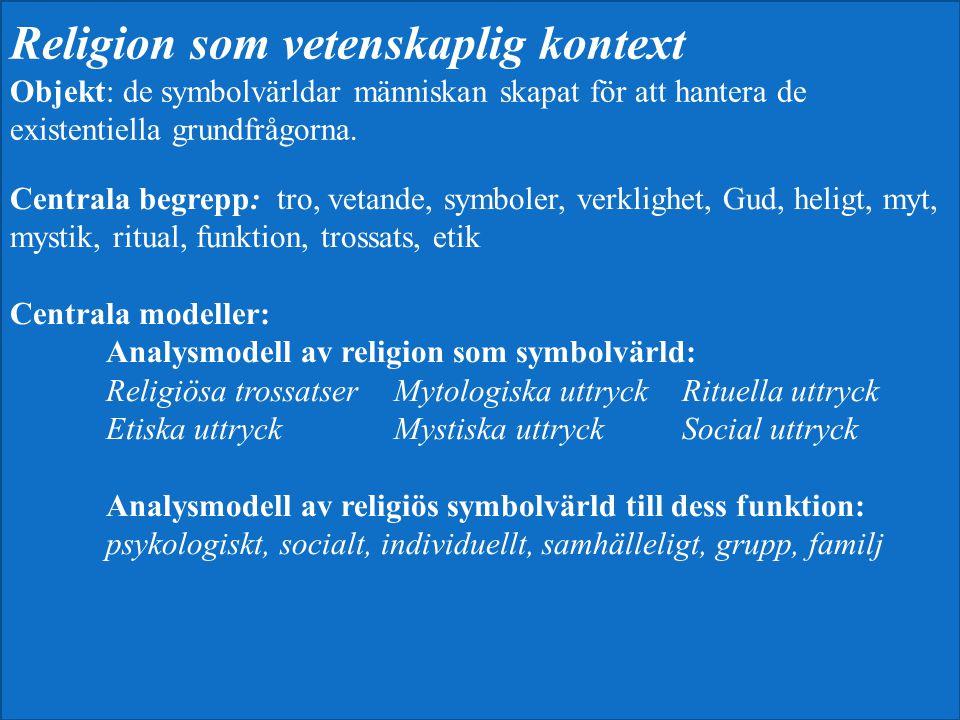 Centrala begrepp: tro, vetande, symboler, verklighet, Gud, heligt, myt, mystik, ritual, funktion, trossats, etik Centrala modeller: Analysmodell av re