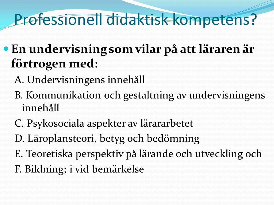 Professionell didaktisk kompetens? En undervisning som vilar på att läraren är förtrogen med: A. Undervisningens innehåll B. Kommunikation och gestalt