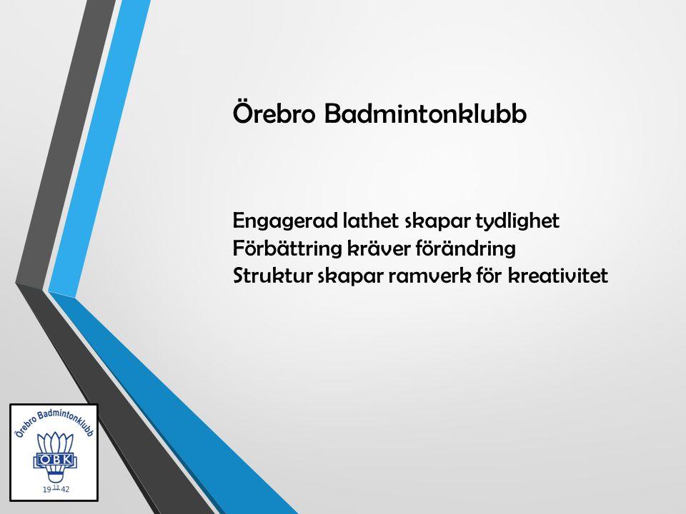 Örebro Badmintonklubb Engagerad lathet skapar tydlighet Förbättring kräver förändring Struktur skapar ramverk för kreativitet