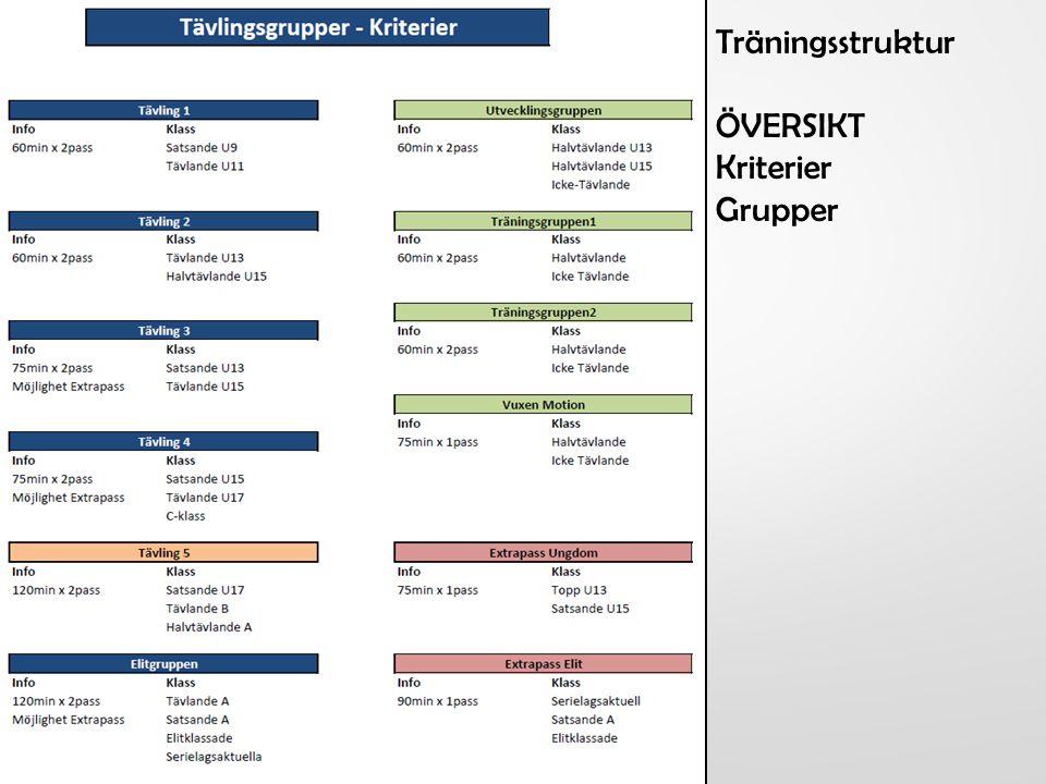 Träningsstruktur ÖVERSIKT Kriterier Grupper