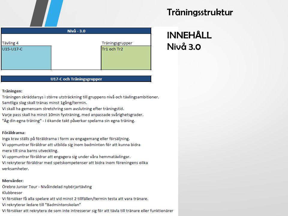 Träningsstruktur INNEHÅLL Nivå 3.0 Träningsstruktur INNEHÅLL Nivå 3.0