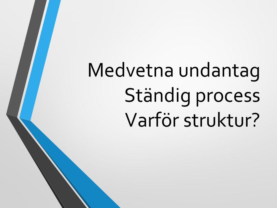Medvetna undantag Ständig process Varför struktur?