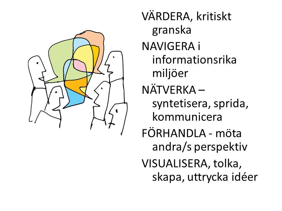VÄRDERA, kritiskt granska NAVIGERA i informationsrika miljöer NÄTVERKA – syntetisera, sprida, kommunicera FÖRHANDLA - möta andra/s perspektiv VISUALIS