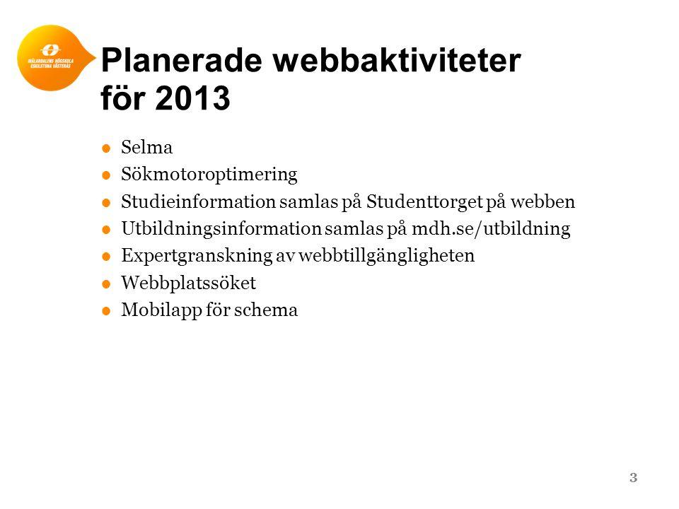 Planerade webbaktiviteter för 2013 ●Selma ●Sökmotoroptimering ●Studieinformation samlas på Studenttorget på webben ●Utbildningsinformation samlas på m