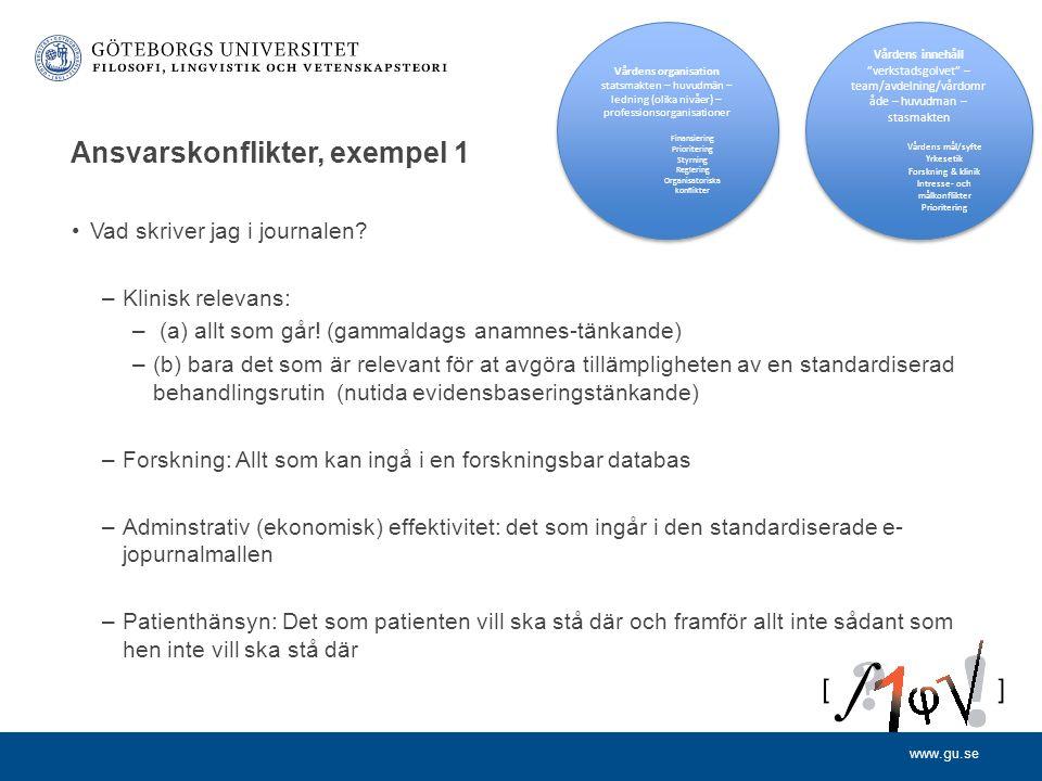 www.gu.se Ansvarskonflikter, exempel 2 Vem bör kunna få tillgång journalen.
