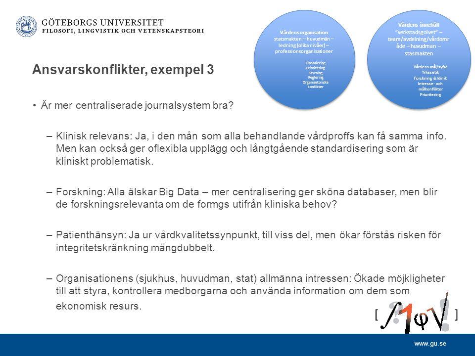 www.gu.se Ansvarskonflikter, exempel 3 Är mer centraliserade journalsystem bra? –Klinisk relevans: Ja, i den mån som alla behandlande vårdproffs kan f