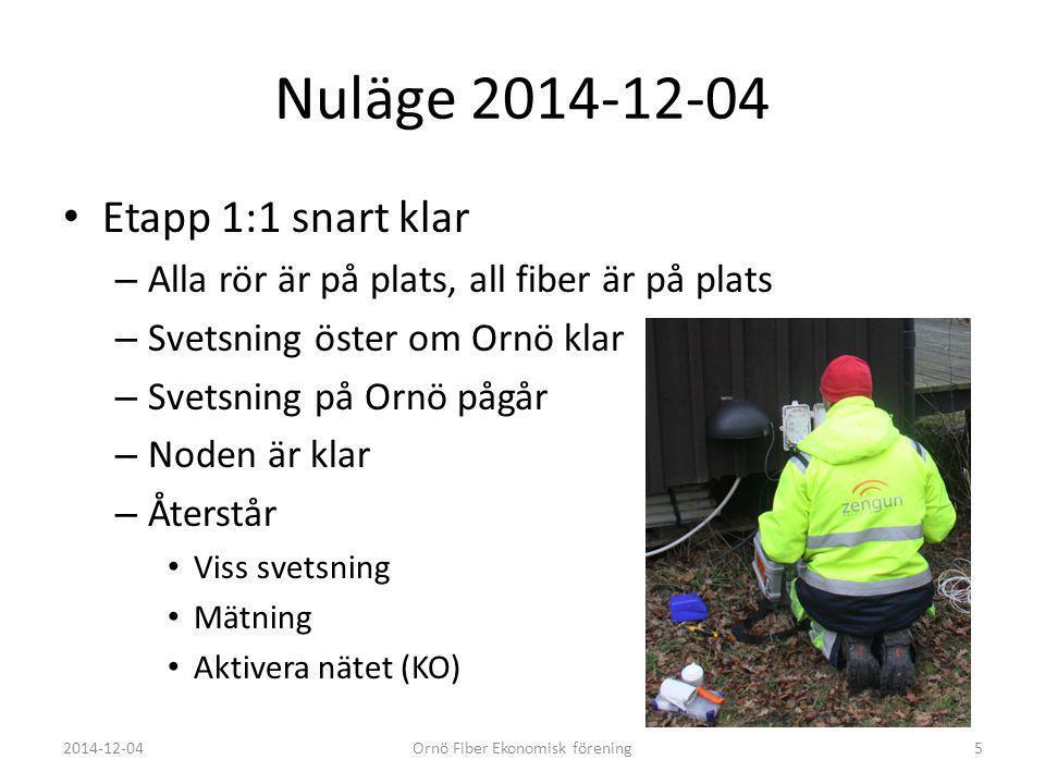 Nuläge 2014-12-04 Etapp 1:1 snart klar – Alla rör är på plats, all fiber är på plats – Svetsning öster om Ornö klar – Svetsning på Ornö pågår – Noden