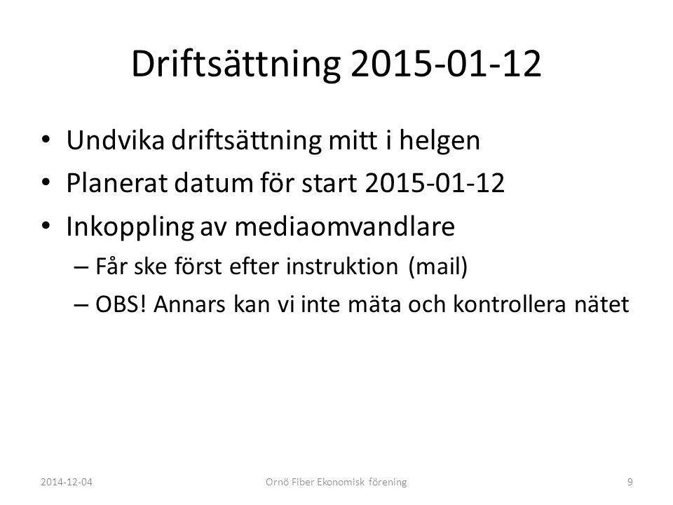 Driftsättning 2015-01-12 Undvika driftsättning mitt i helgen Planerat datum för start 2015-01-12 Inkoppling av mediaomvandlare – Får ske först efter i
