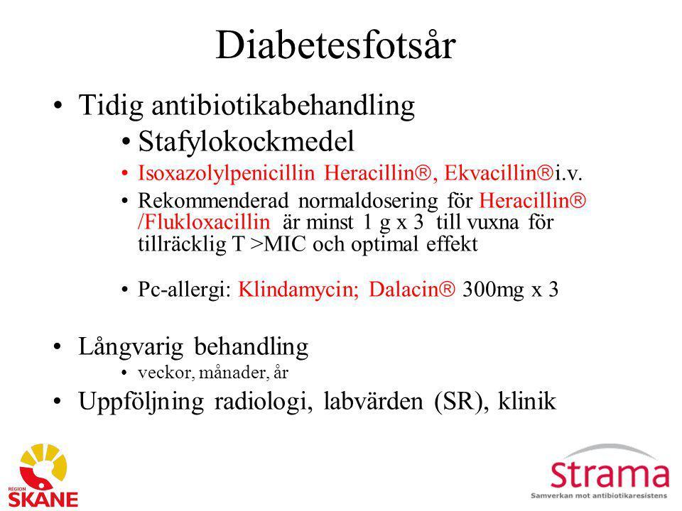 Diabetesfotsår Tidig antibiotikabehandling Stafylokockmedel Isoxazolylpenicillin Heracillin , Ekvacillin  i.v. Rekommenderad normaldosering för Hera